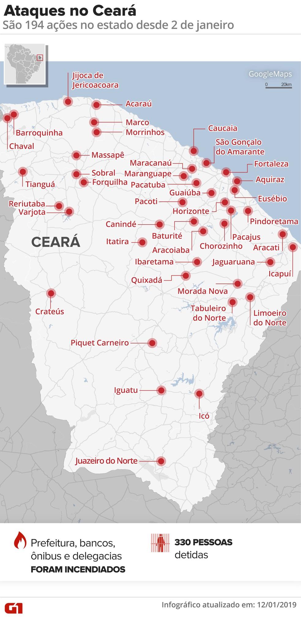 Ceará sofre com onda de ataques coordenados por chefes de facções criminosas — Foto: Arte G1
