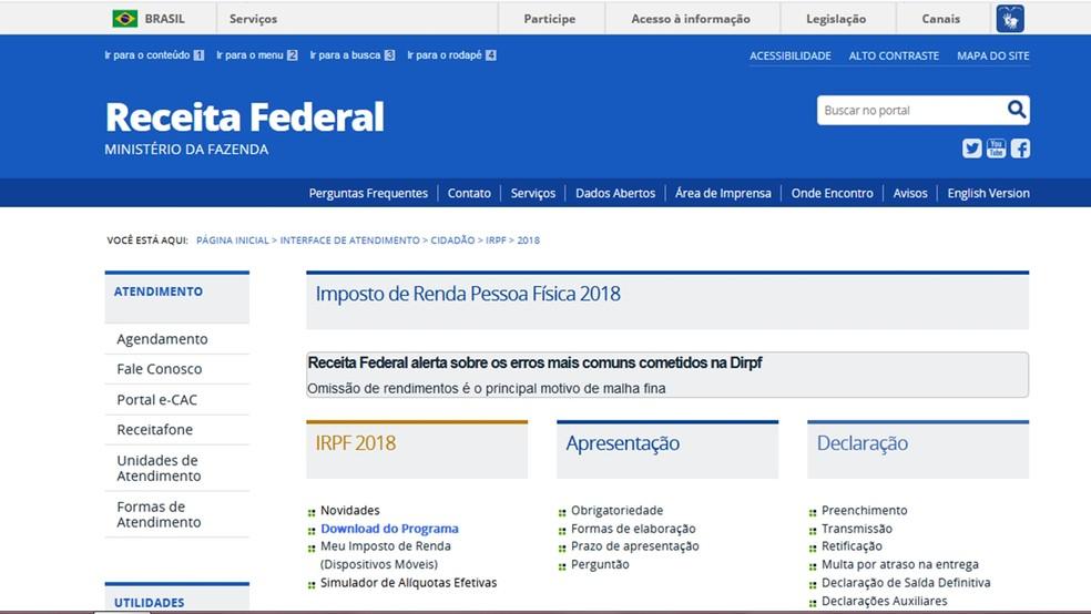 Contribuintes podem elaborar e apresentar declaração do imposto de renda por meio de programa disponível no site da Receita Federal. (Foto: Reprodução/Receita Federal)