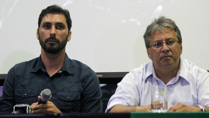 Alecrim - Athirson Mazzoli, técnico - Osvaldo Trigueiro, presidente (Foto: Diego Simonetti/Blog do Major)