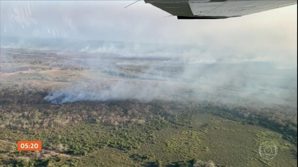 Incêndios atingem Pantanal e Parques do Xingu e de Chapada dos Guimarães em Mato Grosso — Foto: TV Globo