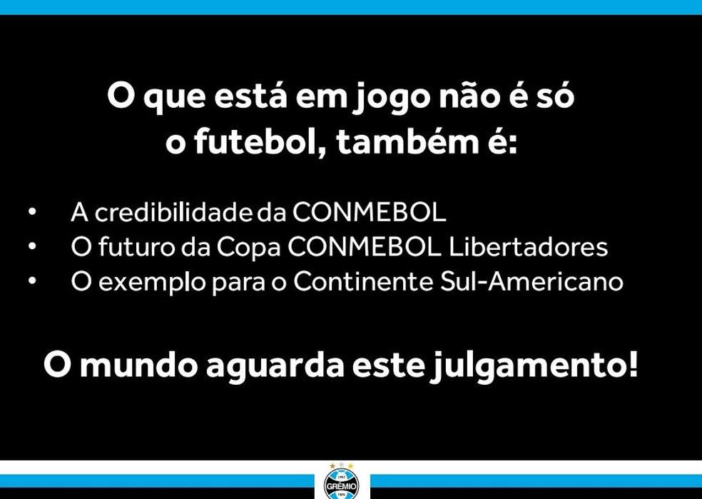 Grêmio cobra exemplo para o futebol sul-americano — Foto: reprodução