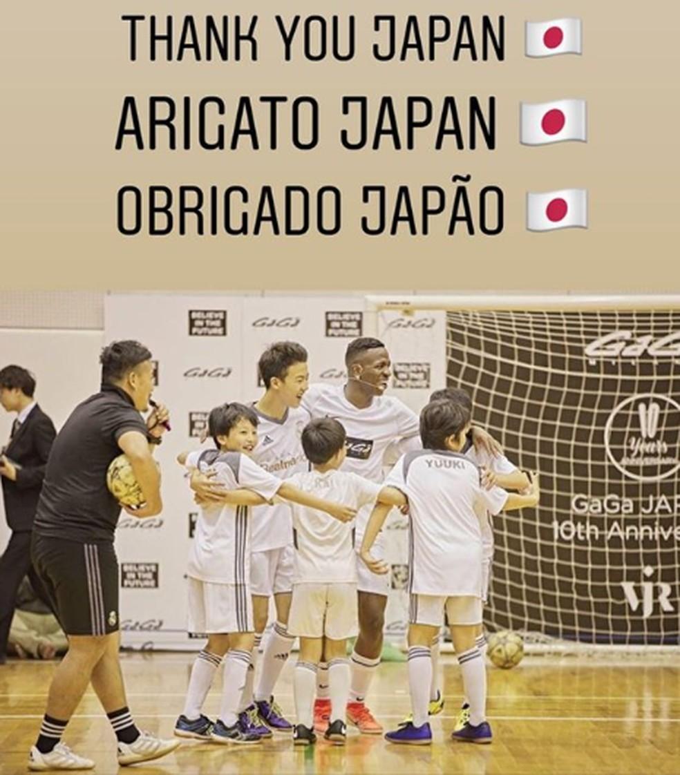 Vinicius Junior durante evento no Japão  — Foto: Reprodução