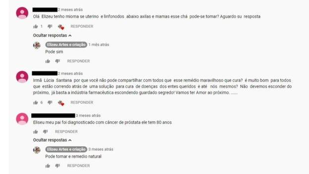 Questionado em comentários no vídeo, YouTuber recomenda 'remédio natural' (Foto: Reprodução Youtube via BBC News)