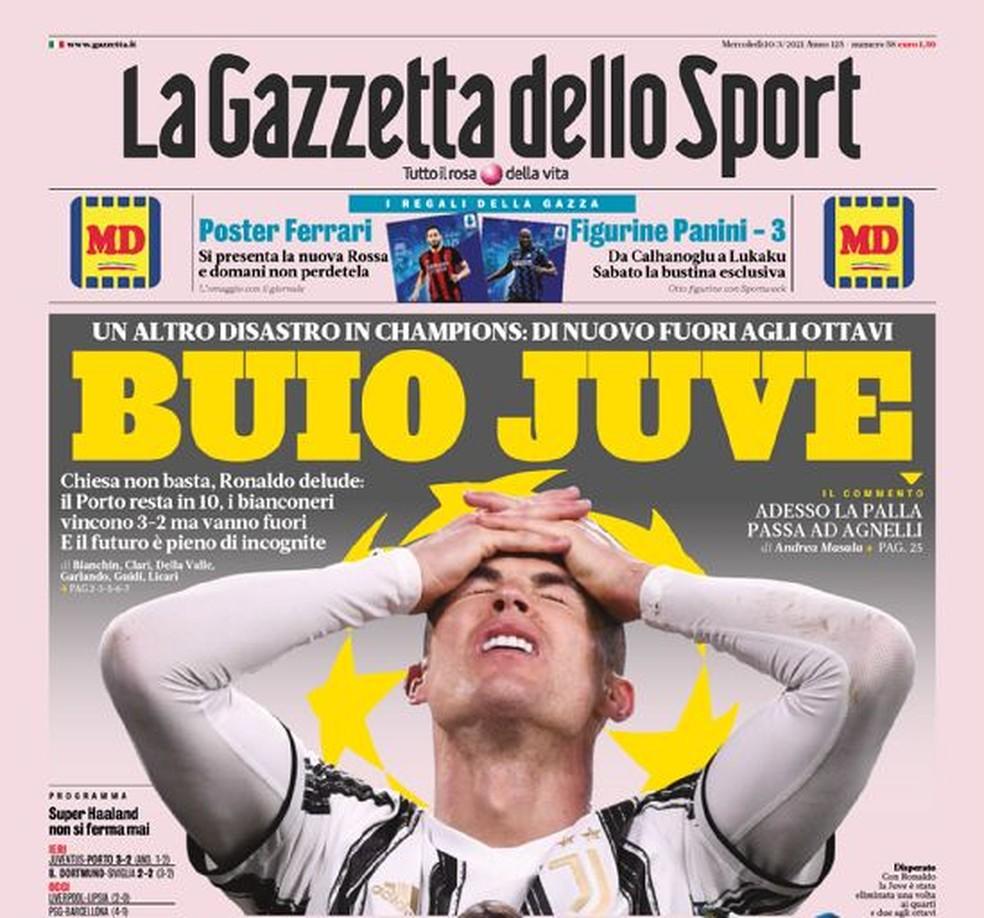 """Gazzetta dello Sport: """"Juve Negra"""" — Foto: Reprodução/Gazzetta dello Sport"""