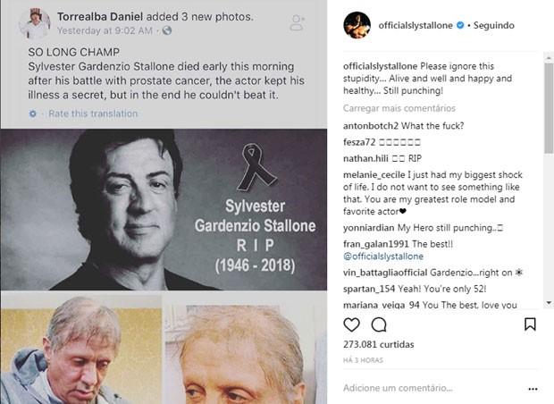O recado de Sylvester Stallone (Foto: Reprodução Instagram)