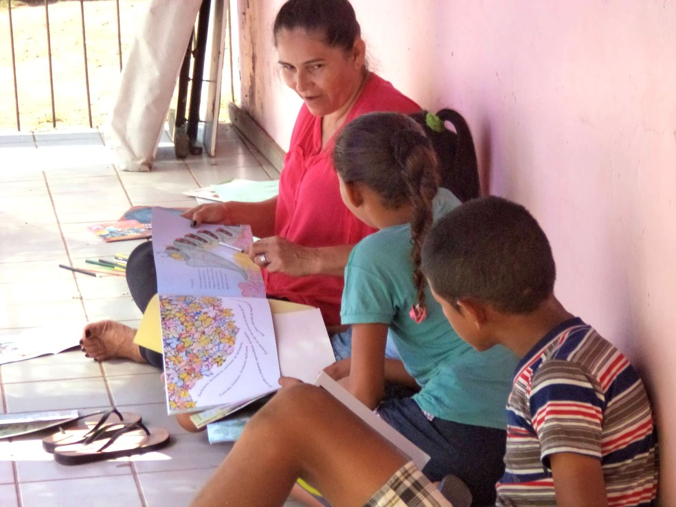 Arte-educadora Rita de Cacia Amorim (de rosa) é voluntária no projeto Barco das Letras (Foto: Reprodução/Facebook)