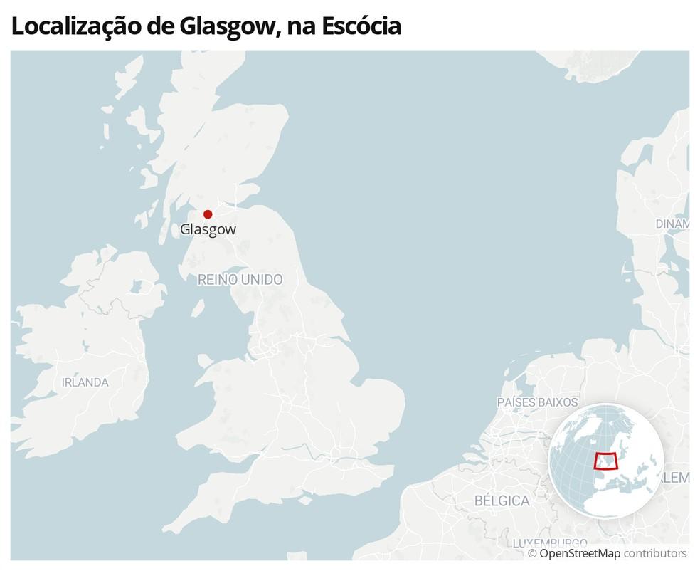 Mapa mostra a localização da cidade de Glasgow — Foto:  G1