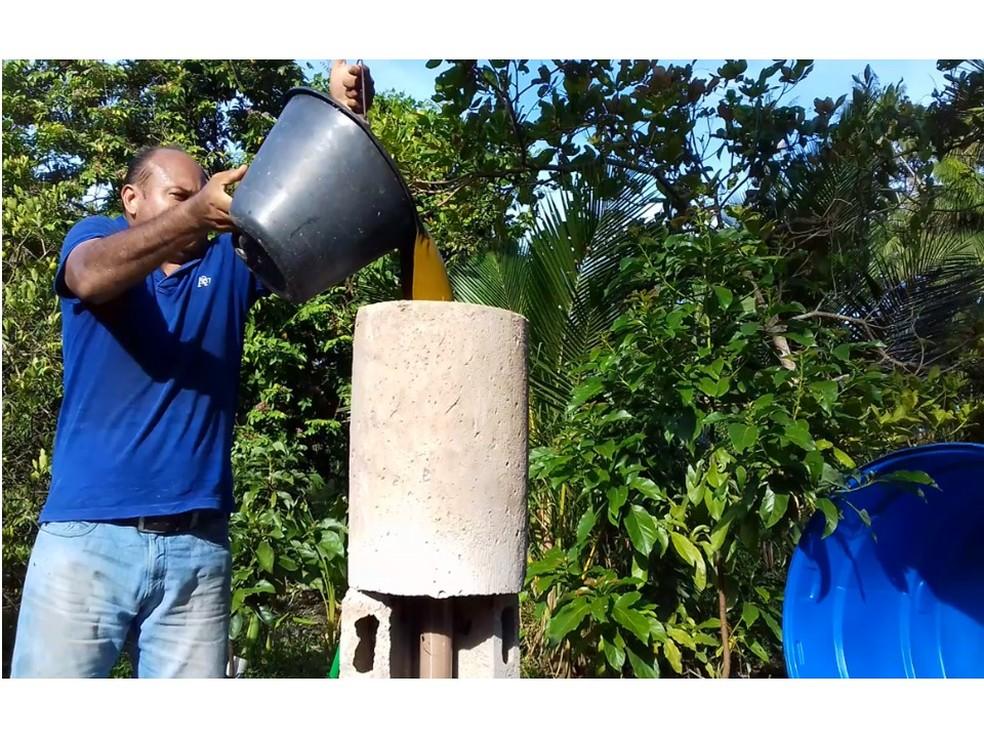 O biodigestor anaeróbio de baixo custo produz gás natural e biofertilizante para pequenas propriedades rurais — Foto: Arquivo Pessoal