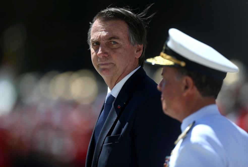 Jair Bolsonaro, em evento do 7 de março de 2019, dia da comemoração dos 211 anos do corpo de fuzileiros naval da Marinha — Foto: FÁBIO MOTTA/ESTADÃO CONTEÚDO
