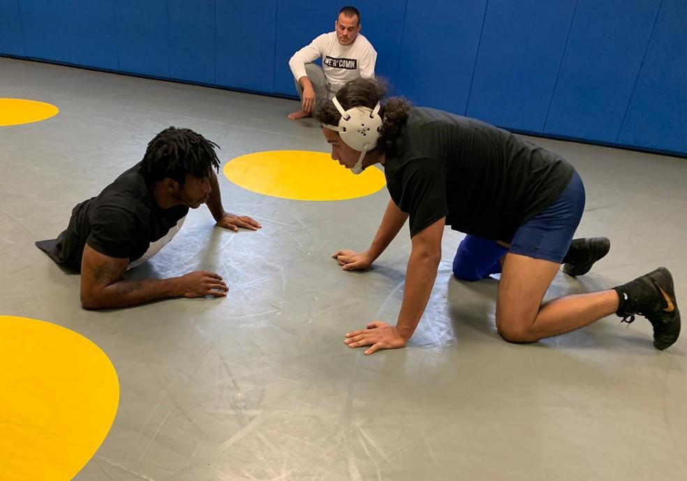 Zion Clark pratica wrestling desde os sete anos de idade — Foto: Camilo Pinheiro Machado