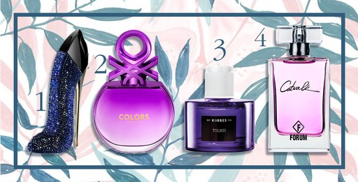 1. Good Girl Collector Edition, Carolina Hererra, R$ 499 (80ml)/ 2. Colors Purple EDT, R$ 99,00 (50ml)/ 3. Tolmis, Korres, R$ 136/ 4. Catwalk, Forum, R$ 79,90 (50 ml)