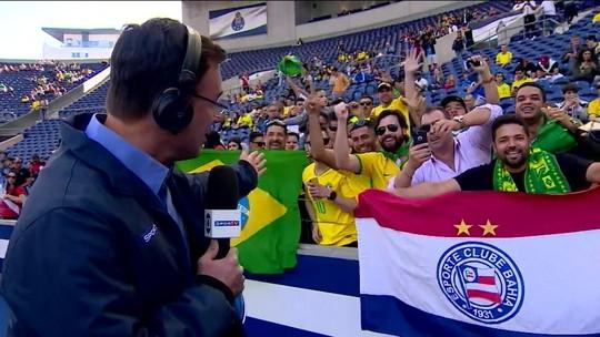 Em Portugal, Tino Marcos mostra a animação para a partida entre Brasil e Panamá pelo amistoso