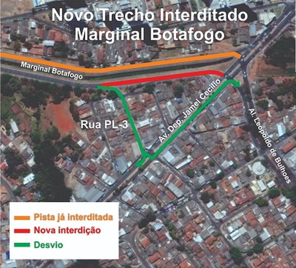 -  Trecho foi interditado na Marginal Botafogo, em Goiânia, Goiás  Foto: Prefeitura de Goiânia/Divulgação