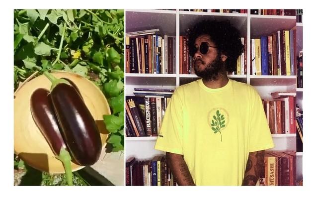 À esquerda, berinjela da horta de Emicida. À direita, o cantor na frente de sua biblioteca (Foto: Reprodução/Instagram)