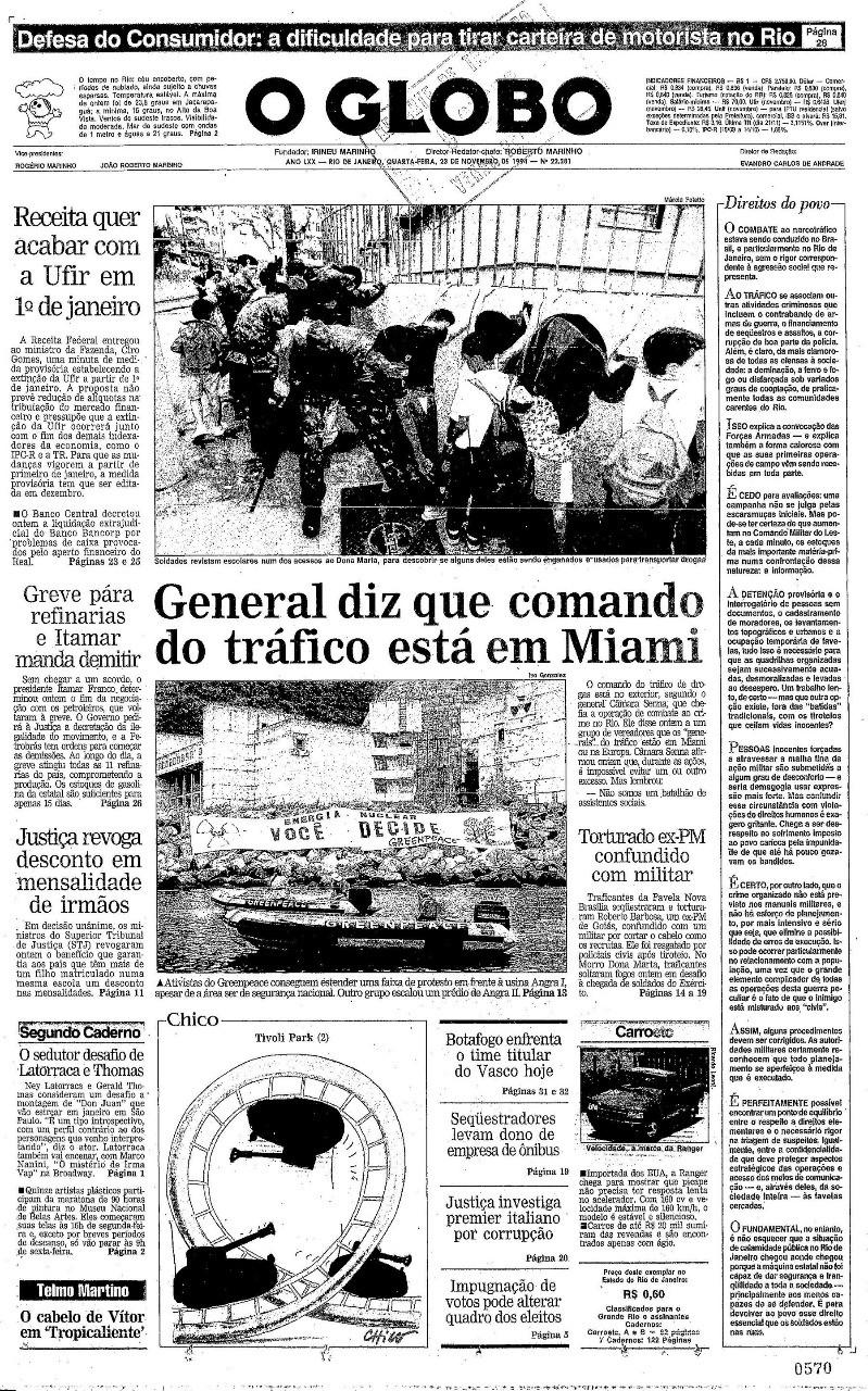 Capa do GLOBO de 23 de novembro de 1994