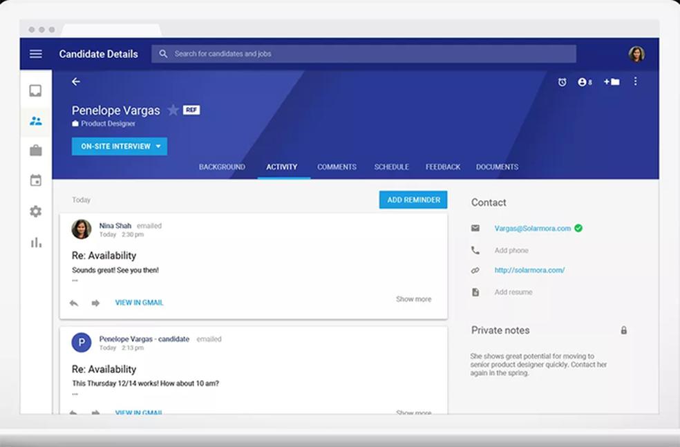Google Hire permite agregar dados e material sobre candidatos espalhados pelo Gmail, Docs, Calendar e etc numa única plataforma (Foto: Divulgação/Google)