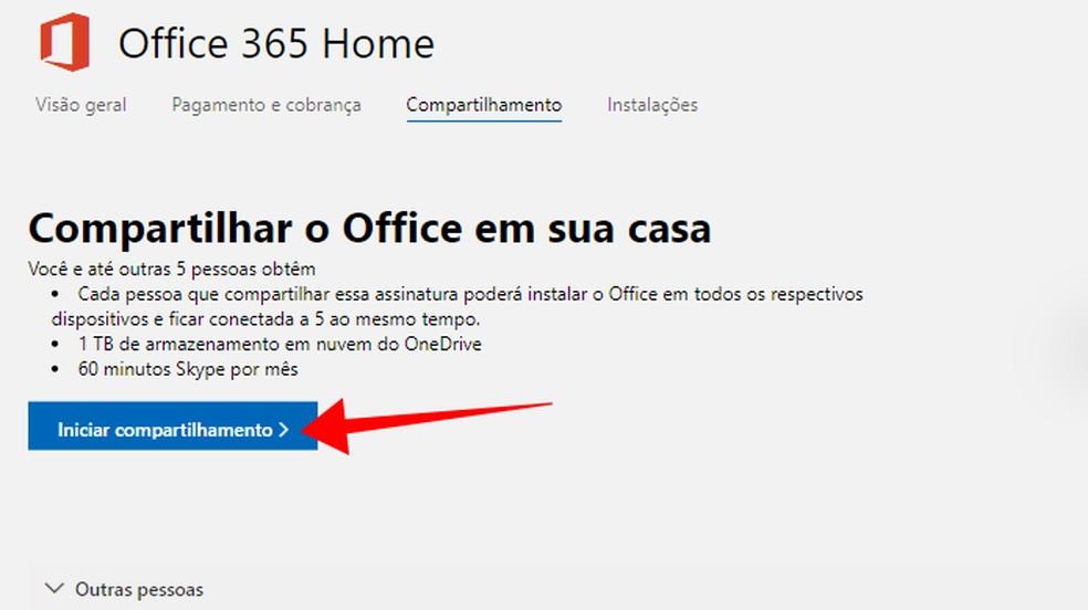 Comece a compartilhar uma assinatura do Office 365 com alguém — Foto: Reprodução/Paulo Alves