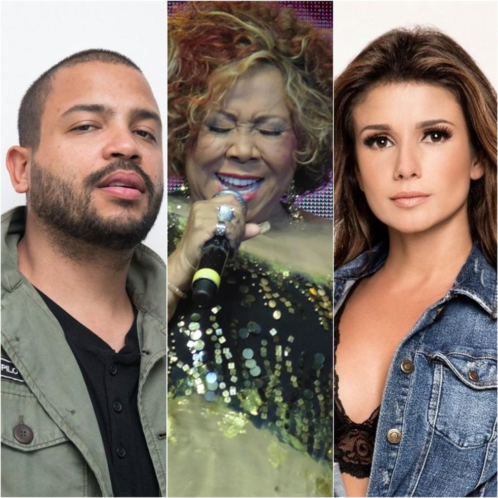 Projota, Alcione e Paula Fernandes fazem lives neste domingo (24) — Foto: Divulgação