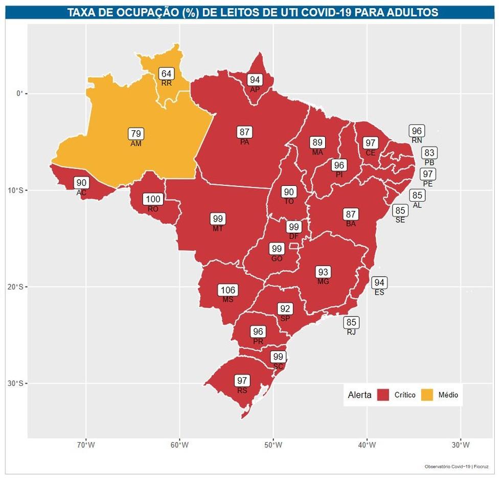 Mapa da lotação das UTIs nos estados do Brasil — Foto: Reprodução/Fiocruz