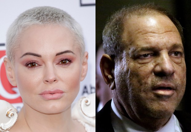 Rose McGowan e Harvey Weinstein (Foto: Getty Images)