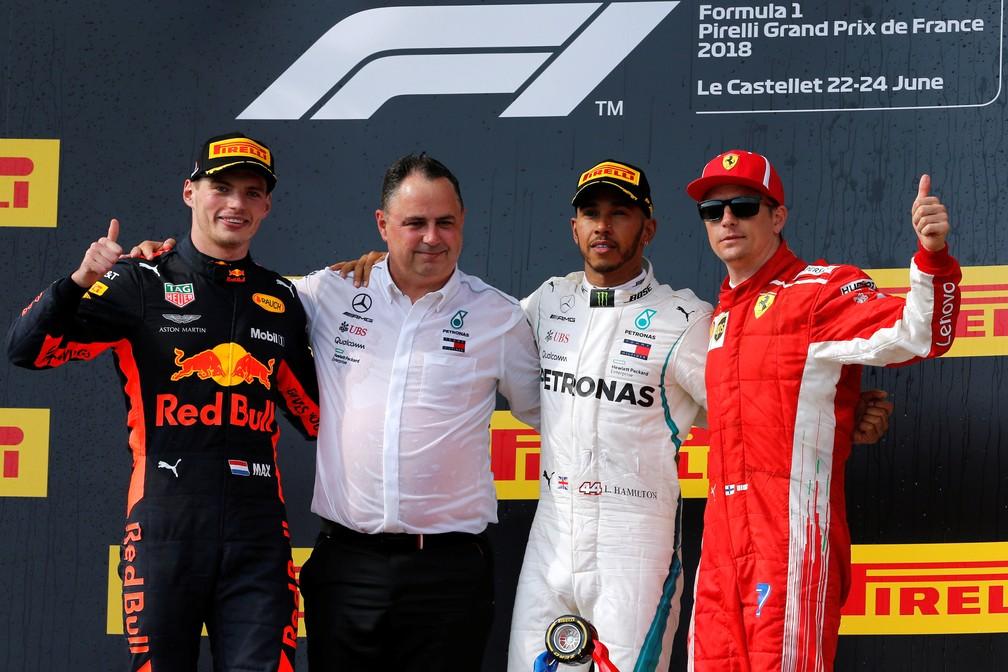 Verstappen, Hamilton e Raikkonen, os três primeiros na França (Foto: Reuters)