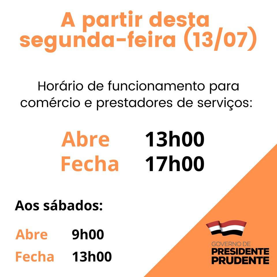 Prefeitura de Presidente Prudente informa reabertura do comércio a partir desta segunda-feira