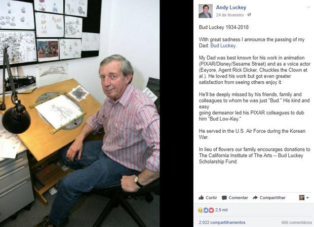 Filho de Bud Luckey anuncia morte do pai (Foto: Reprodução/Facebook)