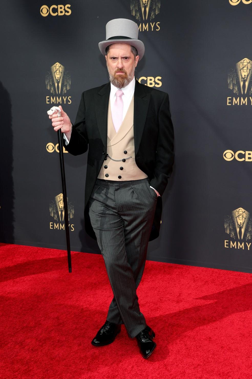 Brendan Hunt chega ao Emmy 2021 — Foto: Rich Fury/Getty Images North America/Getty Images via AFP