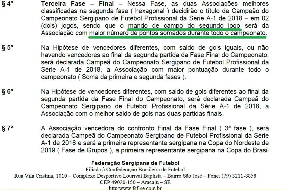 Regulamento do Campeonato Sergipano (Foto: Reprodução/FSF)