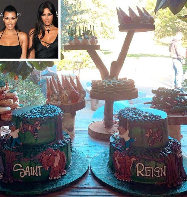 Kim Kardashian e Kourtney Kardashian fazem festa para os filhos Saint e Reign (Foto: People/ Reprodução)