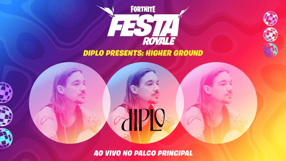 Evento Festa Royale no Fortnite contará com apresentação ao vivo de Diplo — Foto: Reprodução/Epic Games