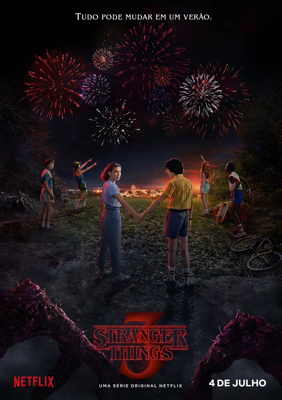 Cartaz da terceira temporada de 'Stranger things', divulgado no primeiro dia de 2019 — Foto: Divulgação/Netflix