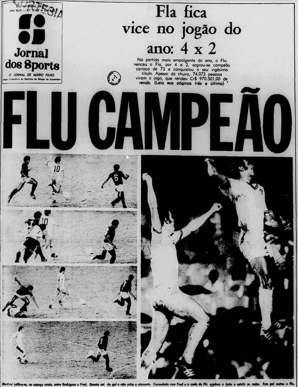 """O título do Fluminense na capa do """"Jornal dos Sports"""" em 23/08/1973 — Foto: Reprodução / Jornal dos Sports"""