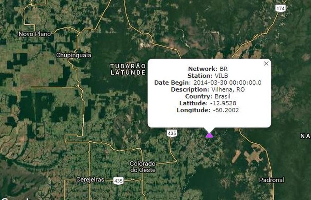 Estação de Vilhena registrou tremor em Chupinguaia — Foto: Reprodução