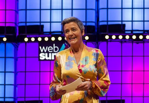 Margrethe Vestager, comissária da União Europeia para a Concorrência, em apresentação no Web Summit 2018 (Foto:  Rita Franca/NurPhoto via Getty Images)