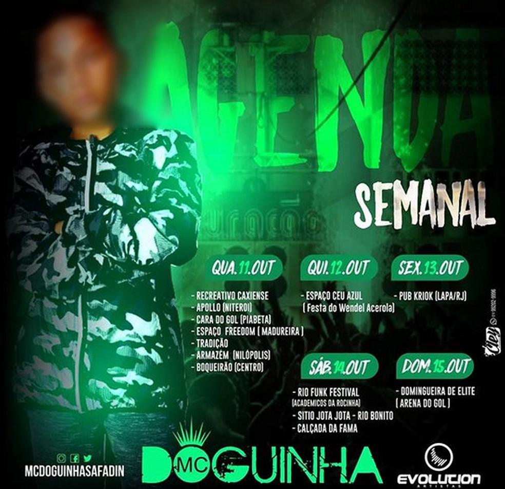 Agenda de outubro de 2017 mostra 13 shows por semana do MC Doguinha, de 12 anos (Foto: Reprodução / Instagram)