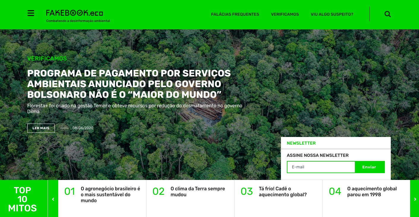 O site tem como objetivo combater as fake news sobre meio ambiente (Foto: Reprodução)