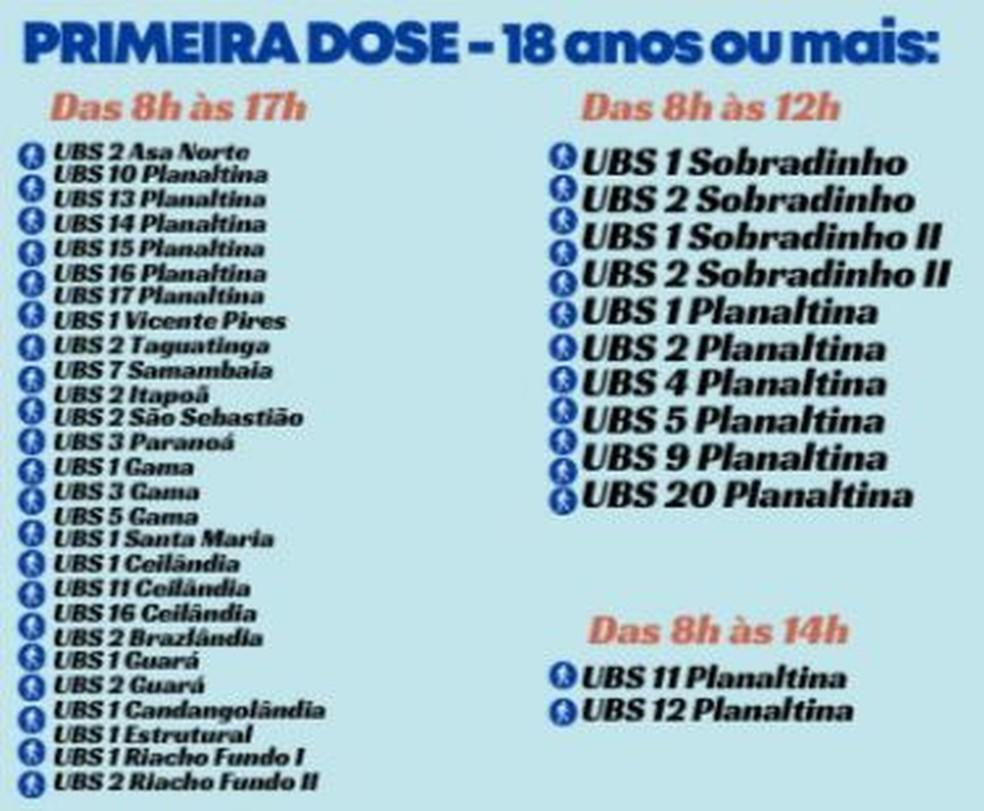 Postos de vacinação para pessoas com 18 anos ou mais nesta quarta-feira (13) — Foto: SES-DF/Divulgação