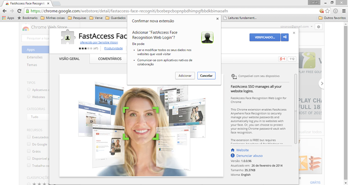 J? no Google Chrome, basta instalar a extens?o do FastAccess para o browser e (Foto: Daniel Ribeiro / TechTudo)