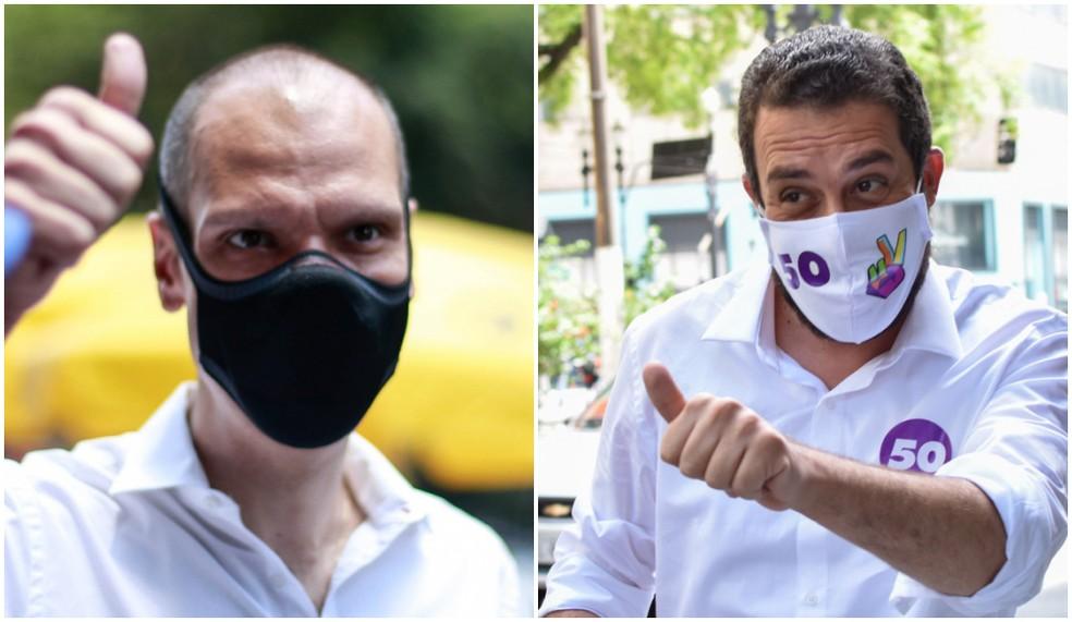 Montagem de fotos com os candidatos que disputam o segundo turno pela Prefeitura de São Paulo, Bruno Covas (PSDB) e Guilherme Boulos (PSOL) — Foto: Tiago Queiroz e Roberto Casimiro/Estadão Conteúdo