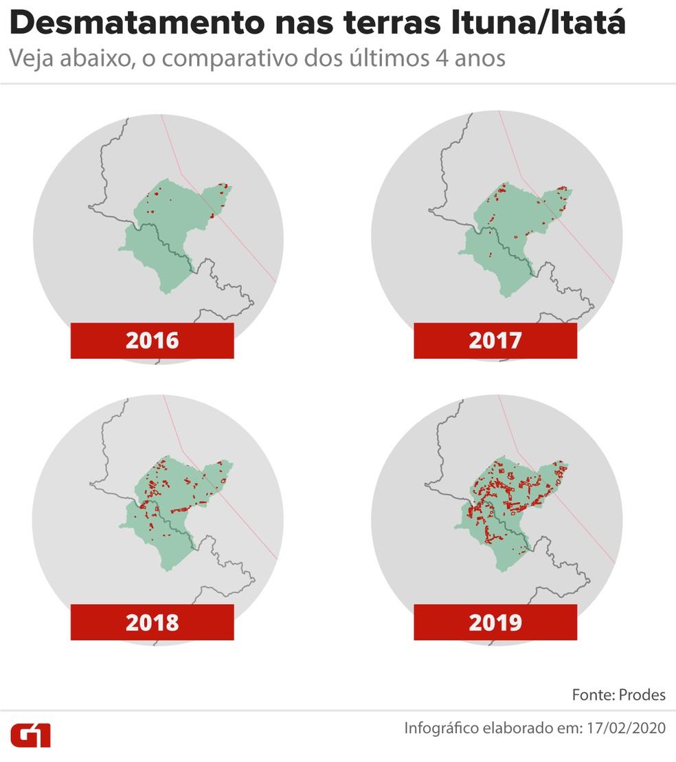 Desmatamento nas terras Ituna/Itatá, em comparativo dos últimos 4 anos — Foto: Arte G1