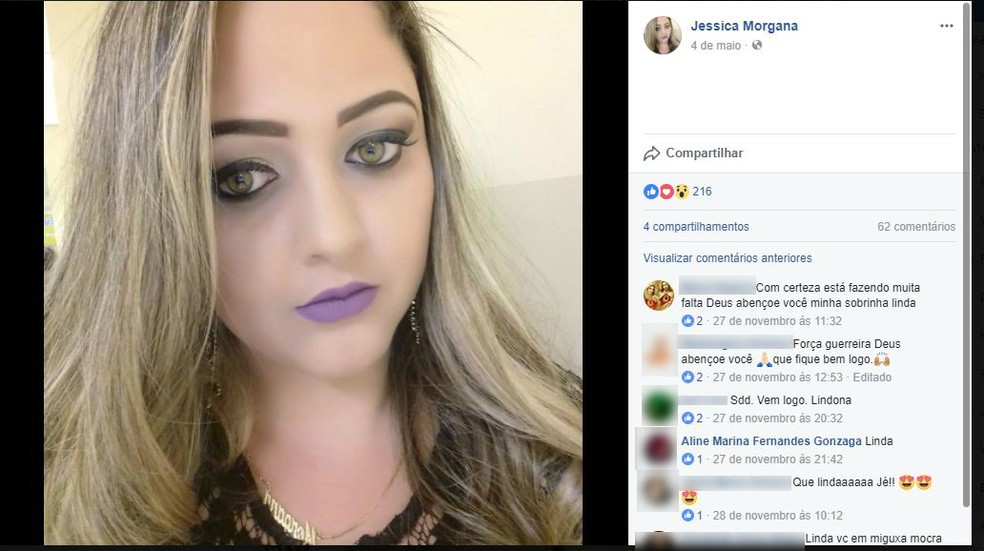 Jéssica Morgana estava internada desde o ataque em Janaúba (Foto: Reprodução/Facebook)