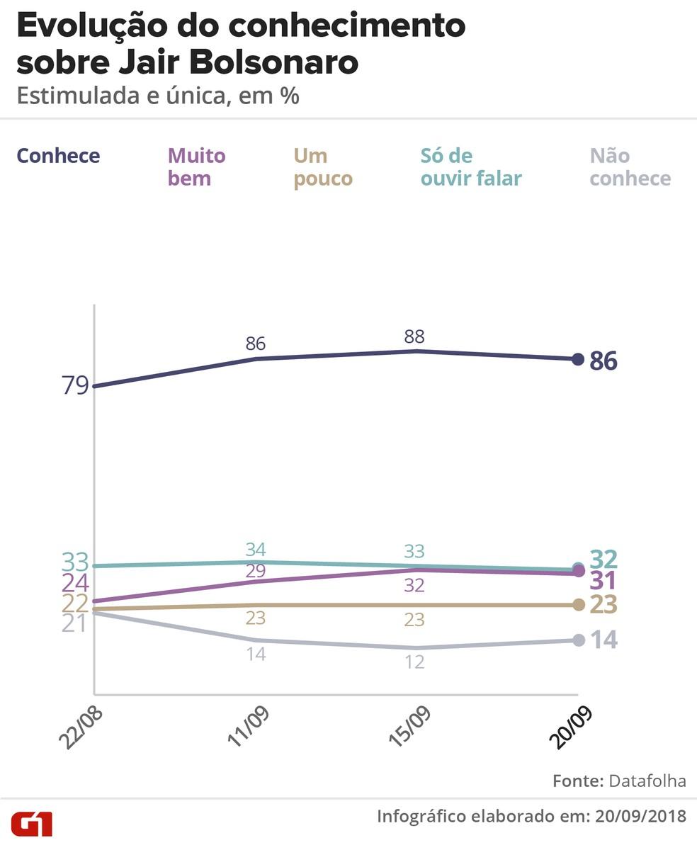 Pesquisa Datafolha 20/09: Evolução de conhecimento sobre Jair Bolsonaro — Foto: Igor Estrella/G1