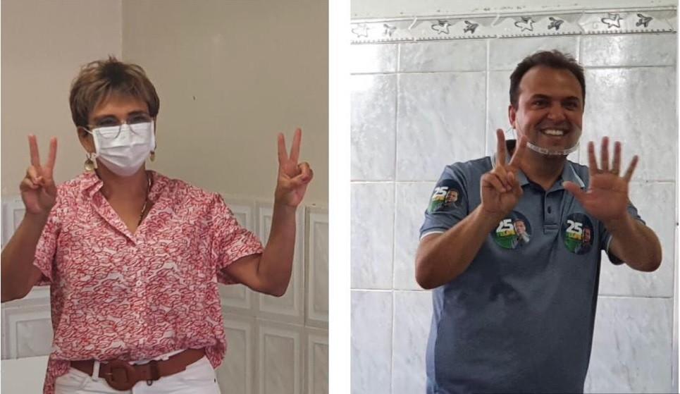 Candidatos Felipe Saliba e Marília votam na manhã deste domingo em Contagem