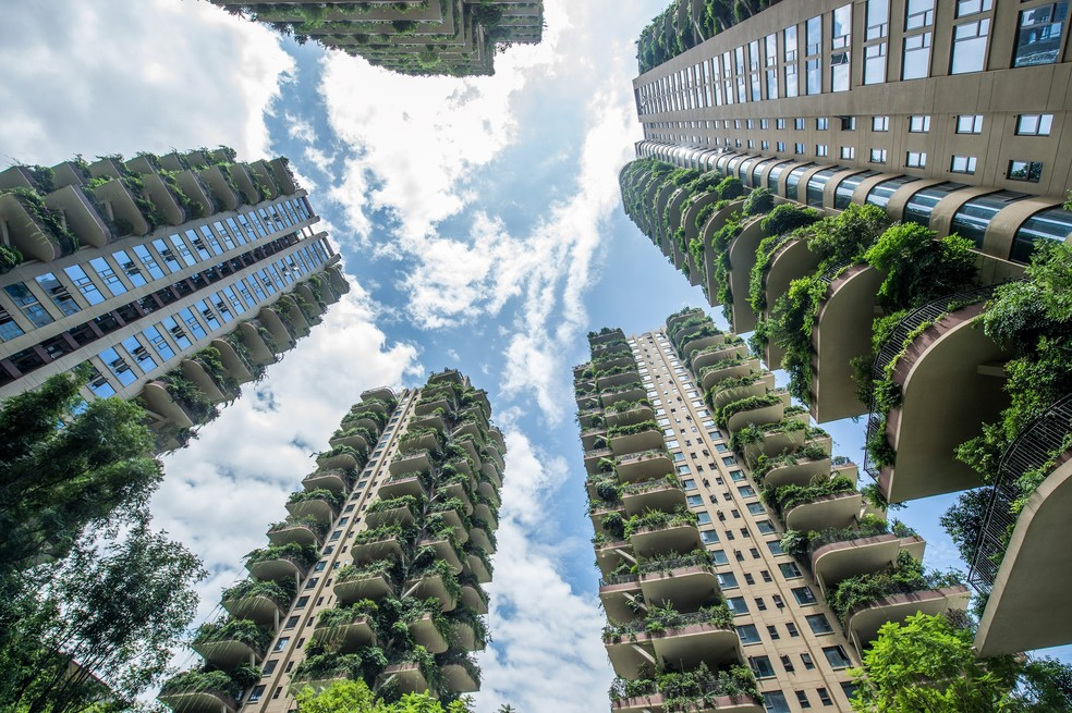 Apartamentos com varandas cobertas por plantas em conjunto residencial em Chengdu, província de Sichuan, no sudoeste da China - 3/8/2020 — Foto: AFP