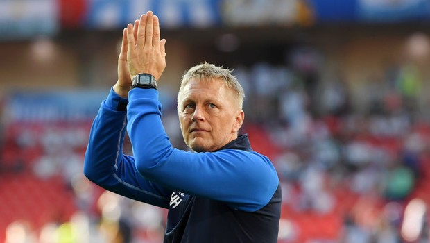 Heimir Hallgrimsson, técnico da seleção da Islândia na Copa da Rússia, em 2018. Manager of Iceland acknowledges the fans following the 2018 FIFA World Cup Russia group D match between Argentina and Iceland at Spartak Stadium on June 16, 2018 in Moscow, Ru (Foto: Matthias Hangst/Getty Images)