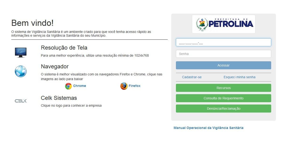 Vigilância Sanitária lança sistema online em Petrolina, PE - Notícias - Plantão Diário