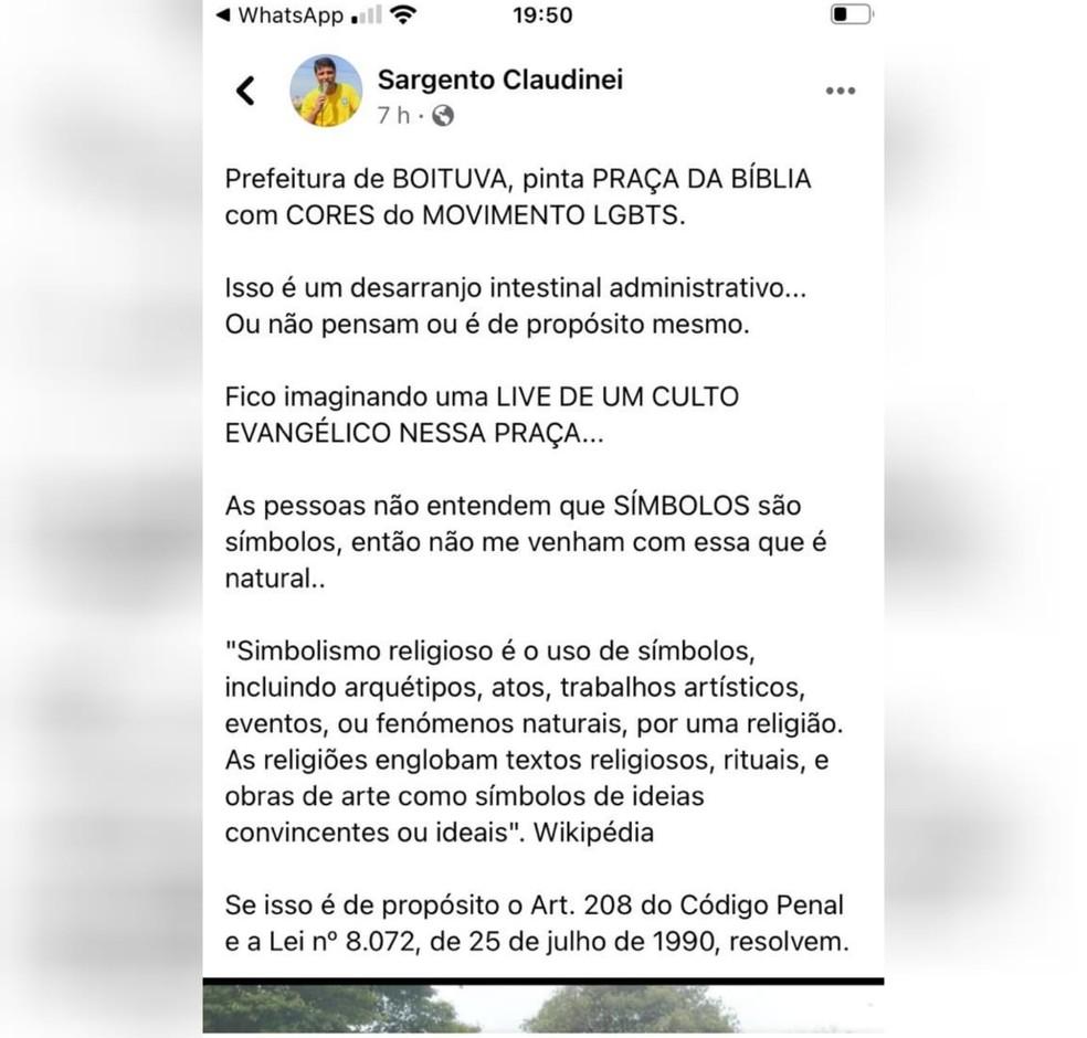 Após pintura com cores do arco-íris, pastor causa alvoroço na web com comentário nas redes sociais — Foto: Reprodução/Facebook