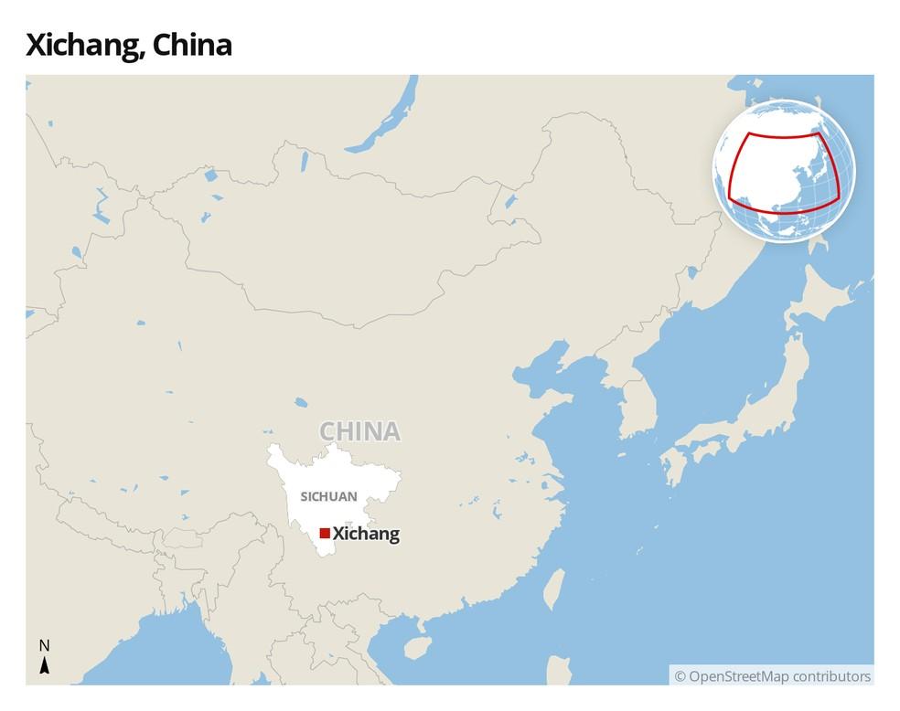 Mapa de Xichang, China — Foto: G1
