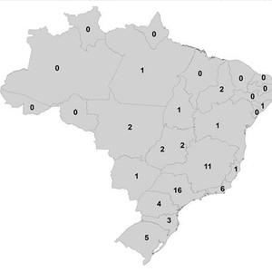 Número de casos por região no Brasil (Foto: Universidade da Georgia)
